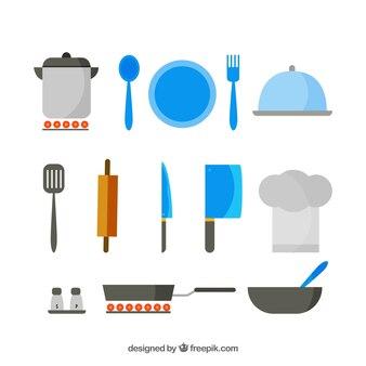 Selezione piatta di grandi oggetti chef