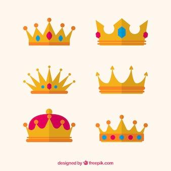 Selezione piatta di sei corone di principessa