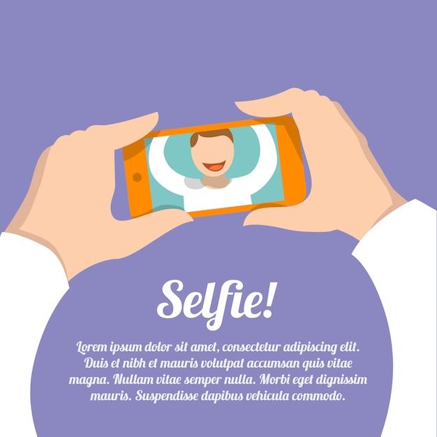 Selfie autoritratto con modello di testo