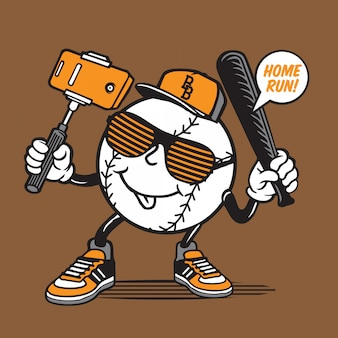 Selfie baseball character