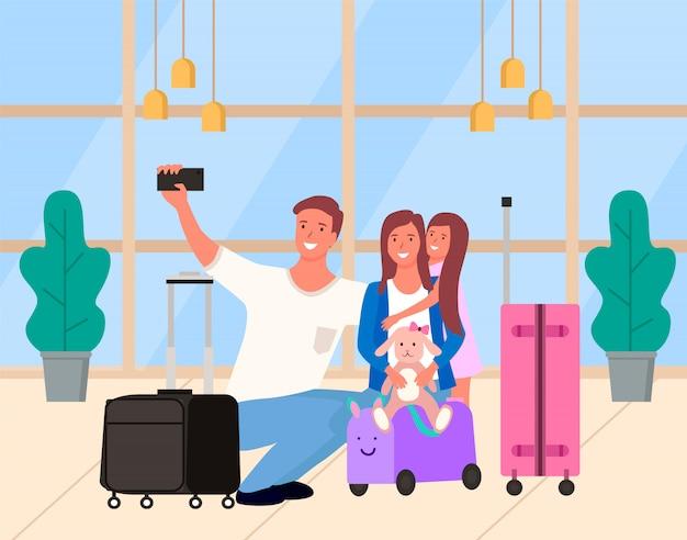 Selfie di genitori con figlia in aeroporto