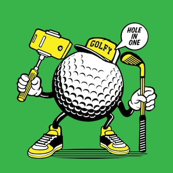 Selfie golf ball head design dei personaggi