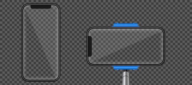 Selfie stick monopiede, schermo del telefono cellulare vuoto.