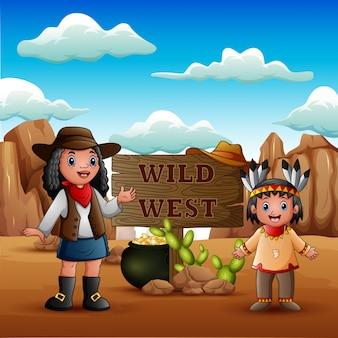 Selvaggio west con giovani cowgirl africani e ragazza indiana