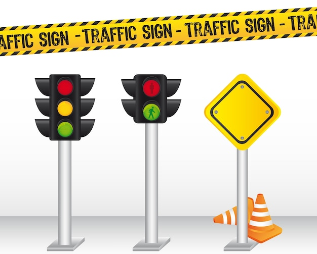 Semaforo con l'illustrazione di vettore del fondo del segnale stradale