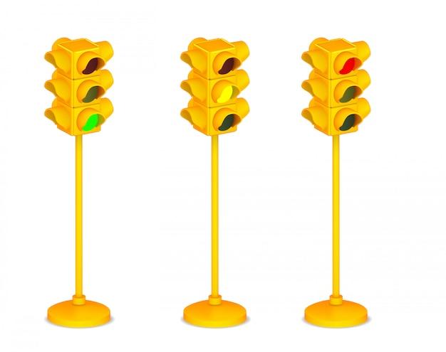 Semaforo giallo 3d isolato