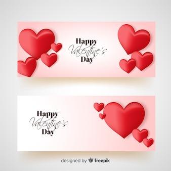 Semplice bandiera di san valentino cuori