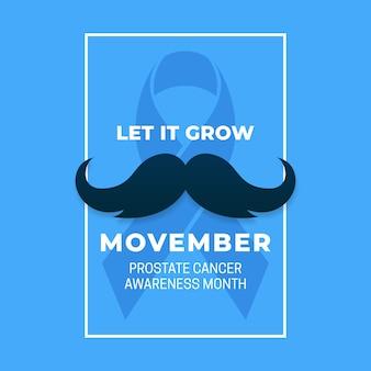 Semplice campagna pubblicitaria movember sul cancro alla prostata per mese con baffi e nastro blu.