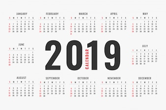 Semplice design del layout del calendario 2019
