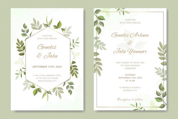 Semplice invito a nozze con foglie vettoriale