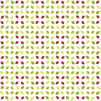 Semplice modello senza cuciture di foglie verdi, gialle e rosse