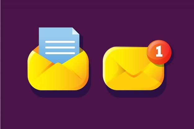 Semplice notifica di posta con successiva apertura e notifica rossa per icona web o app