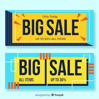 Semplice pacchetto banner geometrico di vendita