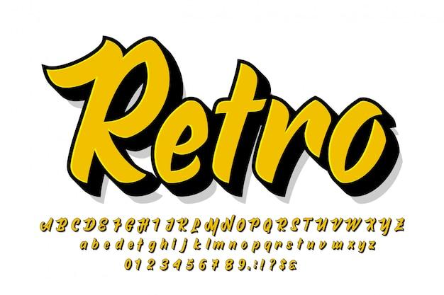 Semplice pennello alfabeto con estrusione per design di abbigliamento
