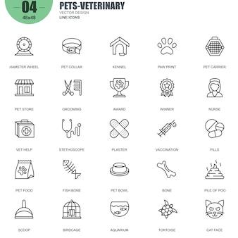 Semplice set di animali domestici e veterinaria linea relativa icone vettoriali