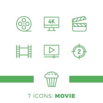 Semplice set di icone di linea di vettore correlate al cinema