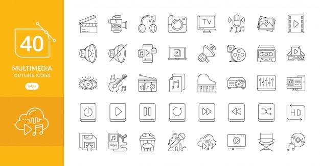 Semplice set di icone di linea di vettore relative multimediali