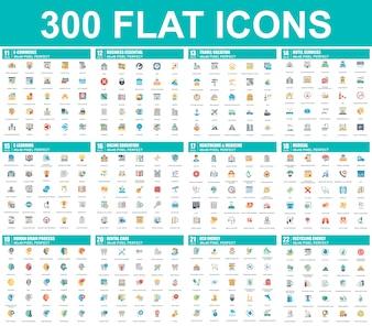 Semplice set di icone piatte vettoriali
