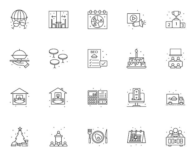 Semplice set di icone relative alla gestione degli eventi in stile linea