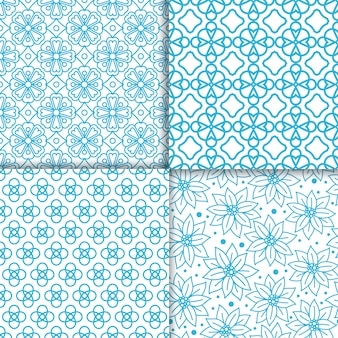 Semplice set di motivi floreali di colore blu