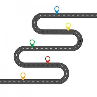Semplice strada tortuosa con pinpointer multicolor. modello per alcuni passaggi o azioni.