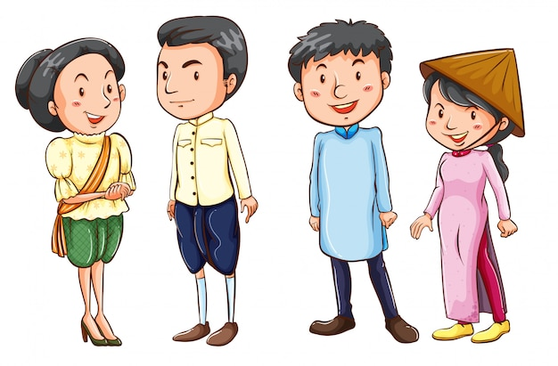 Semplici schizzi colorati del popolo asiatico