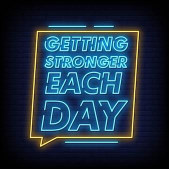 Sempre più forte ogni giorno testo al neon stile testo vettoriale