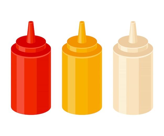Senape di ketchup e bottiglie di maionese