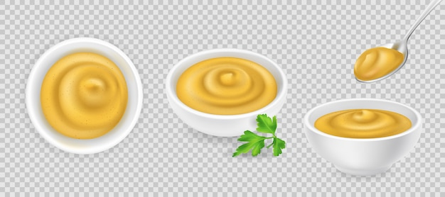 Senape francese realistica nel set di ciotole rotonde. salsa gialla su sfondo trasparente con cucchiaio e prezzemolo. condimento piccante in ramekin. vista laterale e dall'alto, realismo