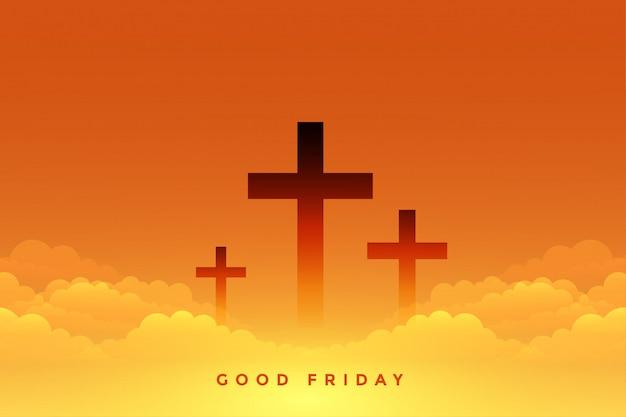 Senso celeste del buon venerdì con simboli a croce