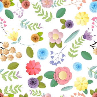Senza cuciture del modello di fiori di carta del mestiere isolato su fondo bianco, abbellimento decorativo.