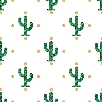 Senza soluzione di continuità glitter cactus con oro polka dot glitter pattern su sfondo bianco
