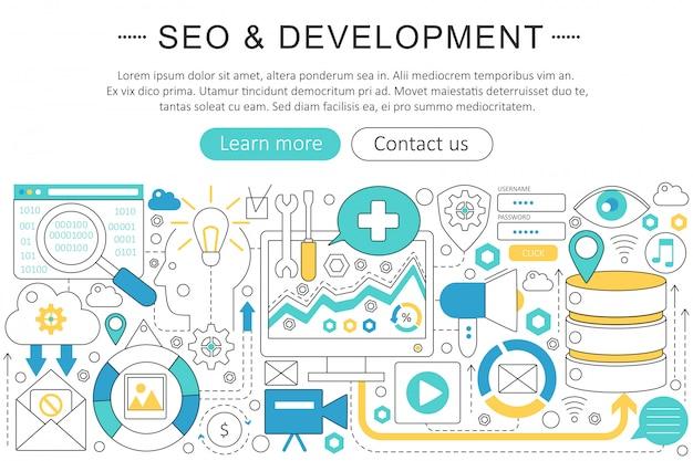 Seo e sviluppo concetto di linea piatta