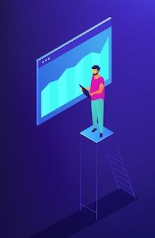 Seo isometrico e illustrazione di monitoraggio dei dati.