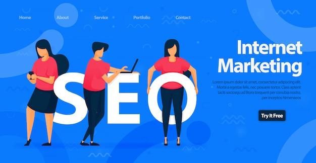 Seo o internet marketing landing page design template.