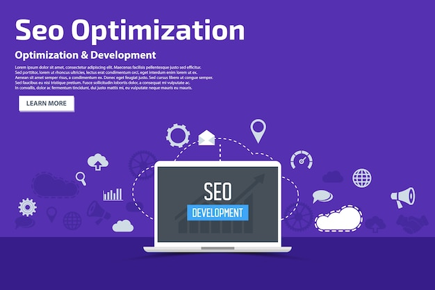 Seo optimization flat icons banner concetto di modello