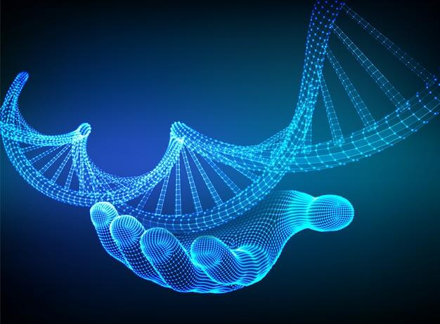 Sequenza di dna in mano. maglia metallica della struttura delle molecole di codice del dna di wireframe.