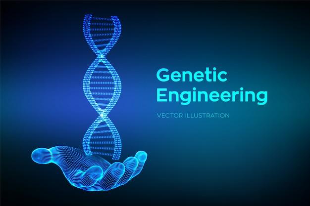 Sequenza di dna in mano. maglia metallica della struttura delle molecole di wireframe dna. codice dna