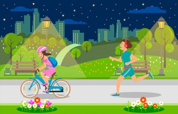 Serata per il tempo libero per genitori e bambini nella grande città.