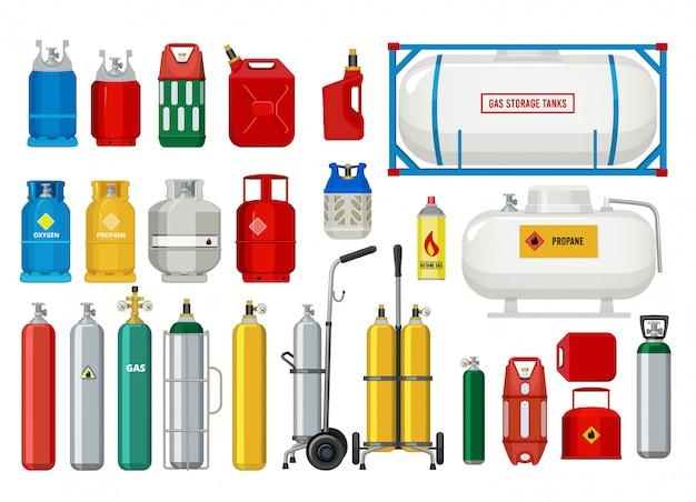 Serbatoi di propano. palloncini di sicurezza per gas illustrazioni pericolose per ossigeno o propano