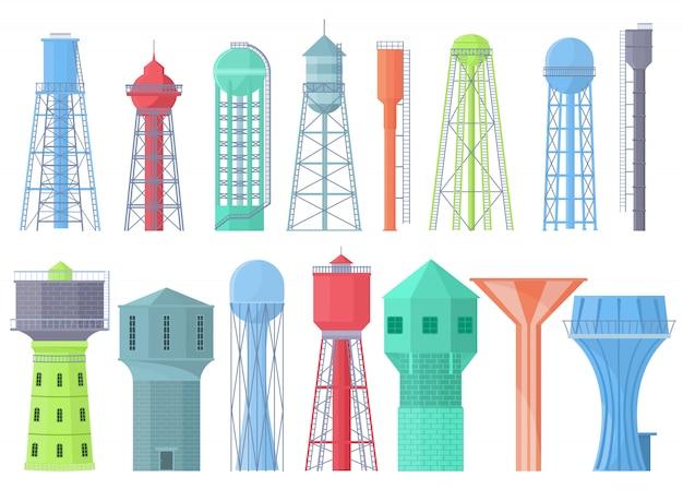 Serbatoio della risorsa di stoccaggio del serbatoio della torre di acqua e insieme industriale dell'illustrazione della torre di acqua del contenitore dell'alto metallo