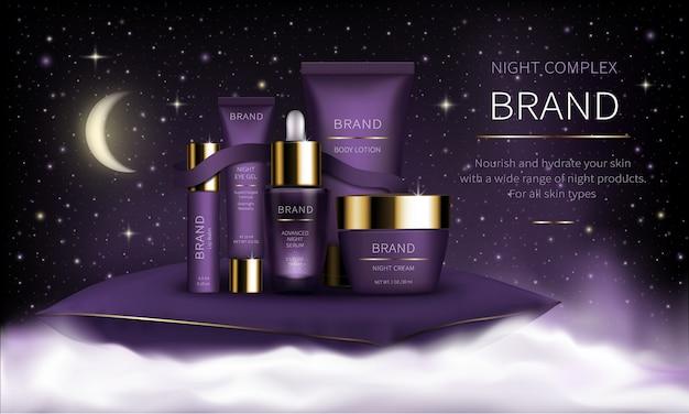 Serie cosmetica serale per la cura della pelle del viso