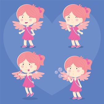 Serie dell'illustrazione del cupido insieme della ragazza