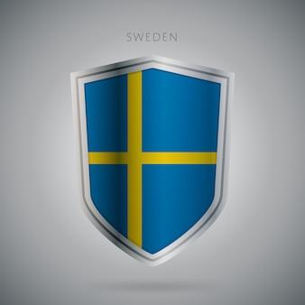 Serie di bandiere europa icona di svezia.