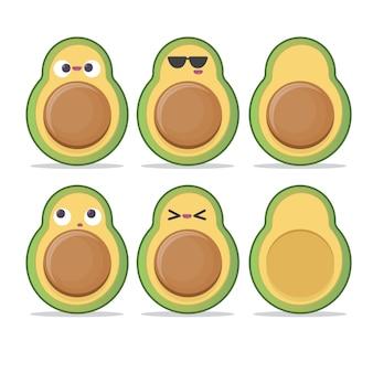 Serie di caratteri divertente dell'avocado del fumetto isolata su bianco