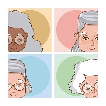 Serie di cartoni animati carine nonne