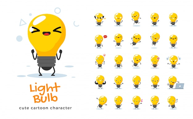Serie di cartoni animati di lampadina. illustrazione.