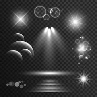 Serie di effetti luminosi trasparenti e scintilla con razzi lente sfondo