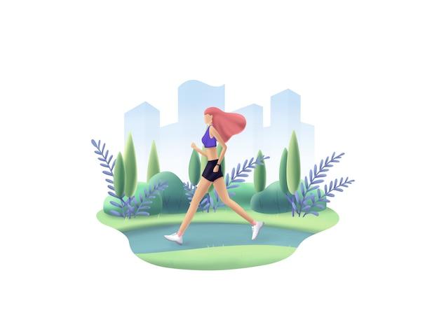 Serie di fitness: bella ragazza sportiva corre su un parco. jogging mattutino.