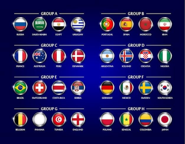 Serie di gruppo di calcio 2018 o gruppo di calcio. vetro circolare coperto di bandiera nazionale